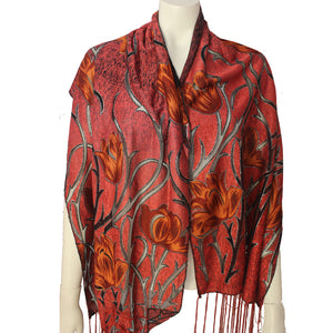 Ladies Scarf Kinnari red tulip
