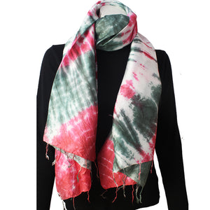 Silk Luxury Scarf red-green