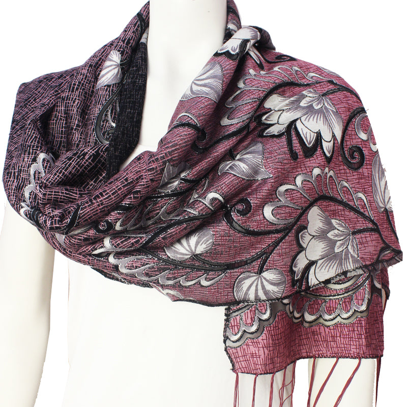 Ladies Scarf Kinnari purple silver