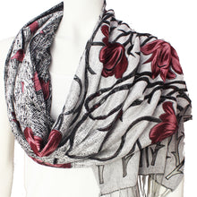 Ladies Scarf Kinnari bordo silver tulip