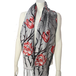 Ladies Scarf Kinnari red silver tulip