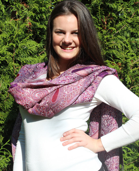 Cashmere luxury scarf purple