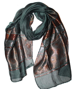 Ladies Scarf Italic Dark Green flower