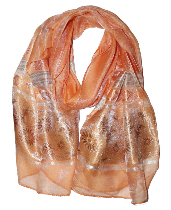 Ladies Scarf Italic Orange flower