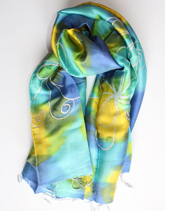 Silk Luxury Scarf blue-yellow