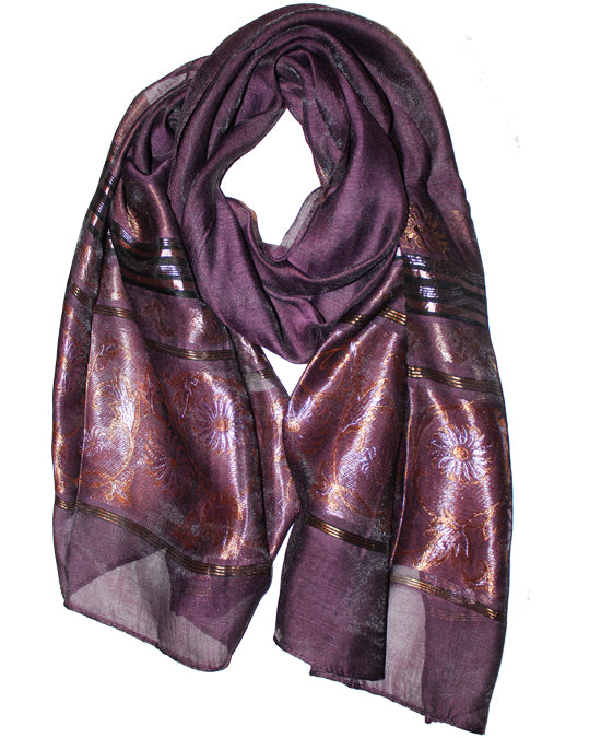 Ladies Scarf Italic Violet flower