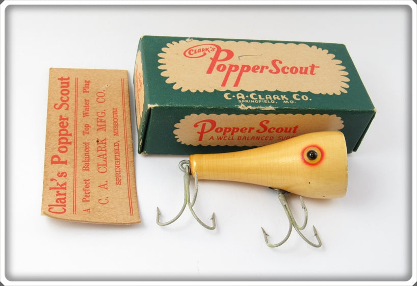 Vintage Clark's Pearl Popper Scout Lure In Box 715