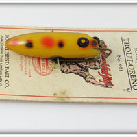 Vintage South Bend Yellow Spotted Trout Oreno On Card 971 Y