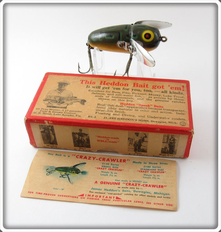 Vintage Heddon Bullfrog Crazy Crawler Lure 2120 BF In Box