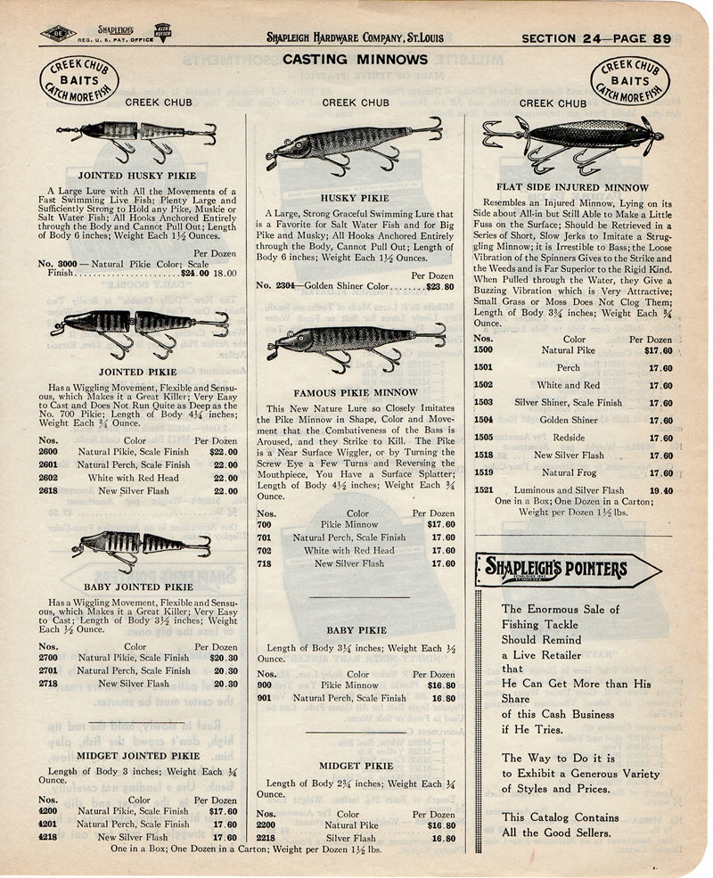 Original 1940 Two Sided Ad: Creek Chub & Millsite