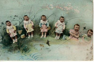 Antique Postcard Of Babies Fishing