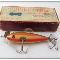 Vintage Pflueger Four Brothers Rainbow Neverfail Minnow Lure In Box