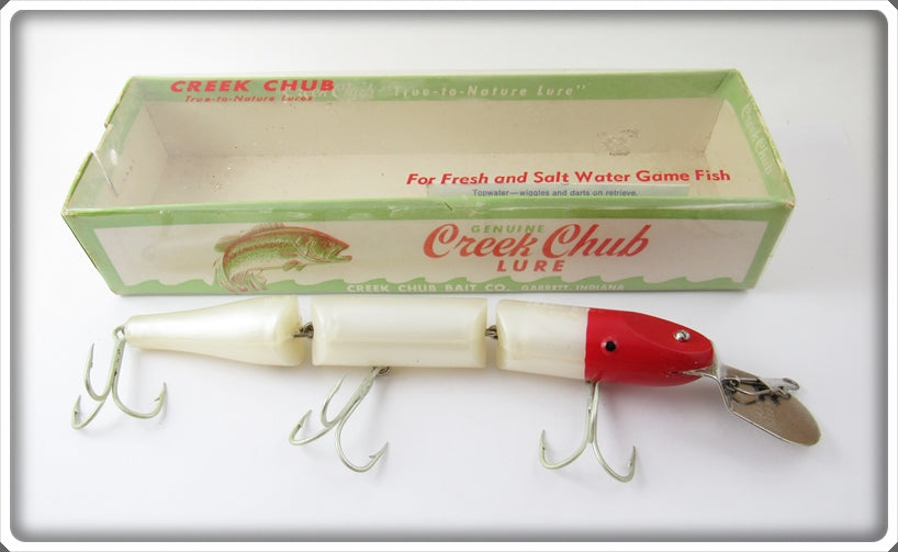 Vintage Creek Chub Red & White Double Jointed Pikie Lure In Box
