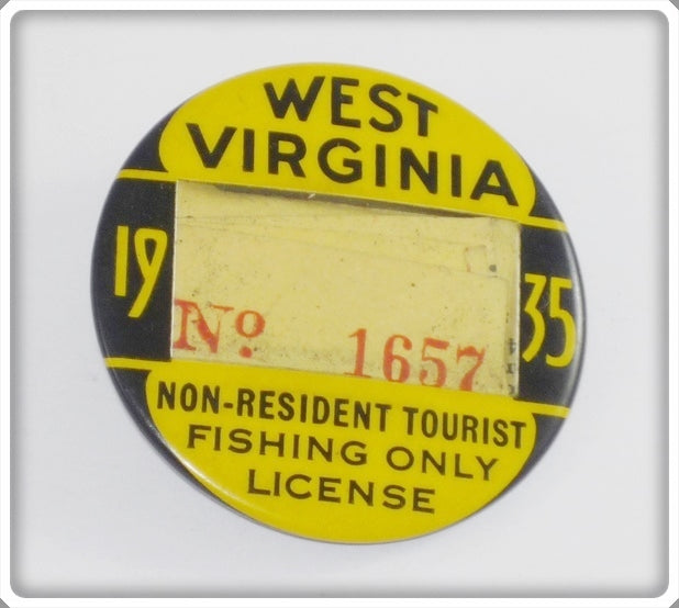 1935 West Virginia Non Resident Tourist Fishing Only License Pin