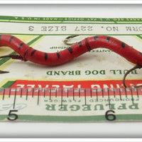 Pflueger Red & Black Worm On Card