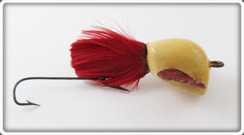 Vintage Jamison White Red Feather Coaxer Lure