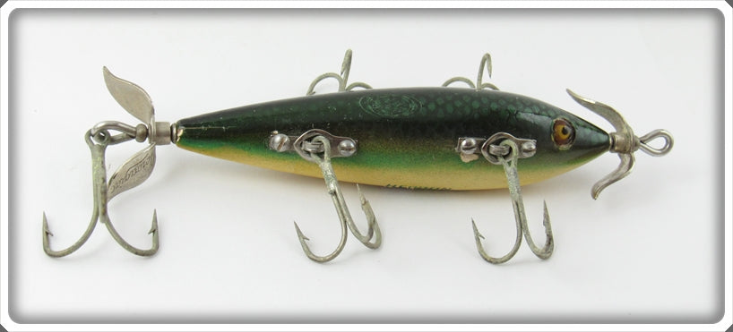 Vintage Heddon Green Scale 150 Five Hook Minnow Lure 159D