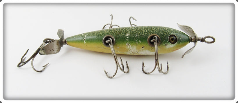 South Bend Green Crackleback Five Hook Underwater Minnow Lure 905 GCB