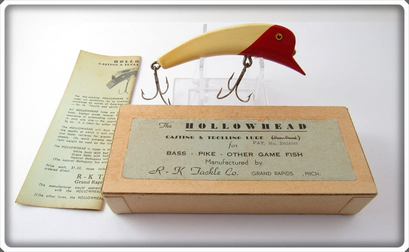Vintage R-K Tackle Red & White Hollowhead Lure In Box R & W