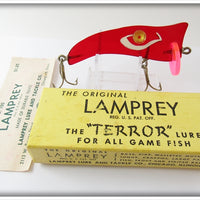 Vintage Lamprey Transparent Red Terror Lure In Box