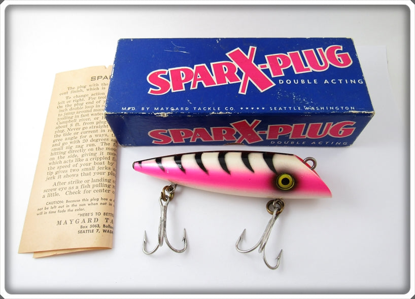 Vintage Sparx Plug Pearl Black Skeleton Salmon Plug Lure In Box