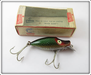 Vintage Heddon Green Scale Midget River Runt Lure In Box 9010 D