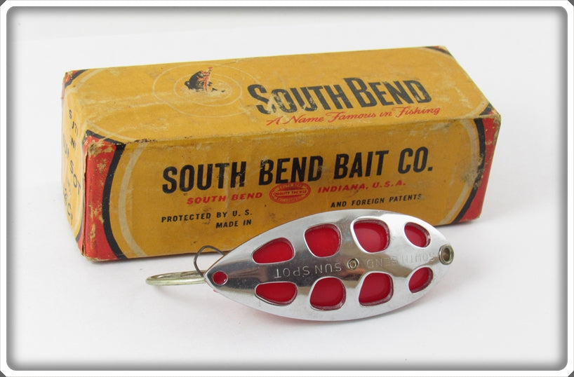 South Bend Chrome Red Sun Spot Spoon In Correct Box 525 CR