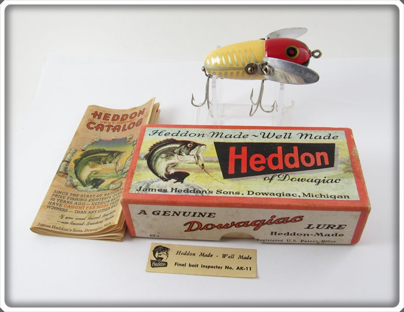 Heddon Red & White Shore Crazy Crawler In Correct Box 2120 XRW