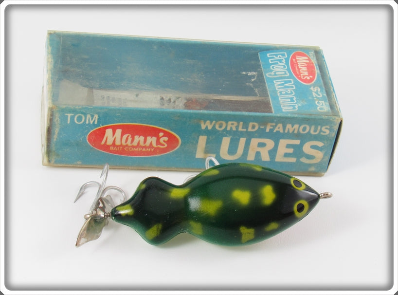 Vintage Tom Mann's Green Frog Mann Lure In Box 33-0567