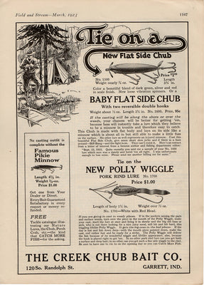 1923 Creek Chub Polly Wiggle Ad