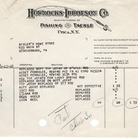 1940 Horrocks Ibbotson Rod & Reel Repair Invoice