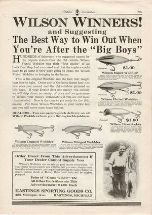 1921 Hastings Wilson Wobbler Ad