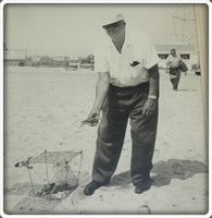 Early 1960's Original Photo Of A Man Crabbing