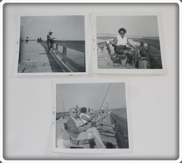 3 Early 1960's Original Photos Of Ladies Fishing
