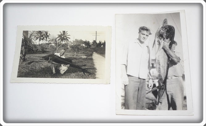 2 Early 1960's Original Photos Of A Man With A Marlin & A Man With A Dolphin Fish