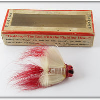 Heddon WR White Shore Red Hackle Fly Rod Bass Bug Spook In Correct Box 975 WR