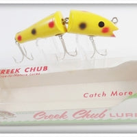 Vintage CCBC Creek Chub Yellow Spotted Jointed Darter Lure In Box 4914