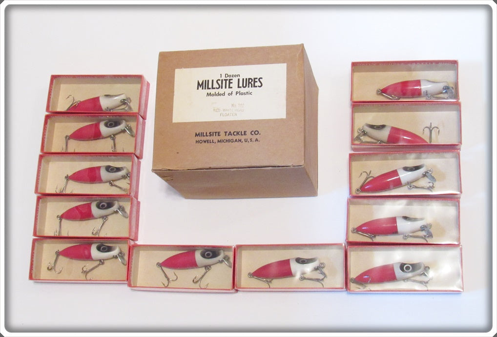 Millsite Red White Head Wig Wag Floater Dealer Box With 12 Lures