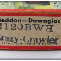 Vintage Heddon 2120 BWH Black White Head Crazy Crawler In Correct Box