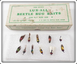 Vintage Lur-All Fly Rod Beetle Bug Baits Lure In Box