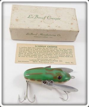 Vintage LeBouef Manufacturing Co Green Le Bouef Creeper Lure In Box