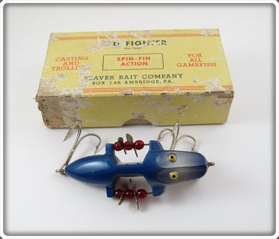 Vintage Beaver Bait Company Blue Shad Old Fighter Lure In Box