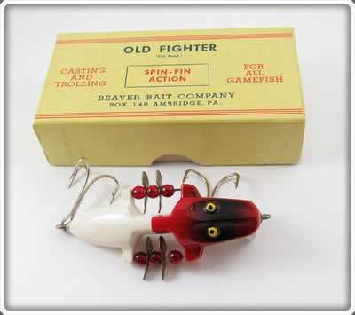 Beaver Bait Co Red & White Old Fighter In Box