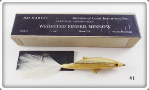 Vintage Jim Harvey Sucker Weighted Finned Minnow Lure In Box