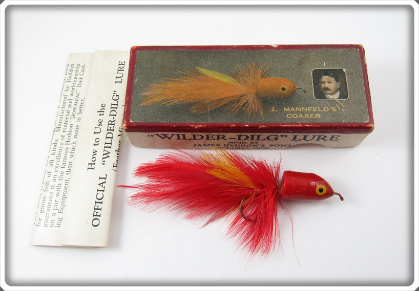 Vintage Heddon Mannfeld's Coaxer Wilder Dilg Fly Rod Lure 2 In Box
