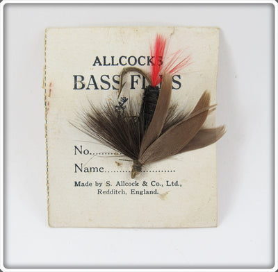 Vintage Allcocks Bass Flies Black & Red Fly On Card