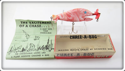 Vintage Leon Tackle Co Pink Swirl Chase A Bug Lure In Box