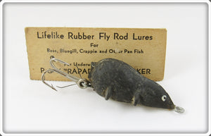 Vintage P & K Lifelike Rubber Fly Rod Mouse Lure On Card