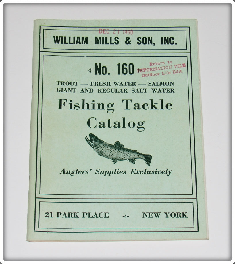 Vintage 1960 William Mills & Son Inc Fishing Tackle Catalog