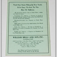 1960 William Mills & Son Inc Fishing Tackle Catalog